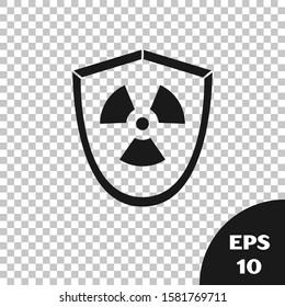 Black Radioactive in shield icon isolated on transparent background. Radioactive toxic symbol. Radiation Hazard sign.  Vector Illustration