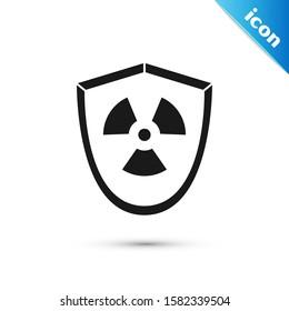Black Radioactive in shield icon isolated on white background. Radioactive toxic symbol. Radiation Hazard sign.  Vector Illustration