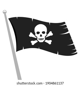 Black ragged pirate flag with skull and bones