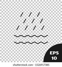 Black Rain and waves icon isolated on transparent background. Rain cloud precipitation with rain drops.  Vector Illustration