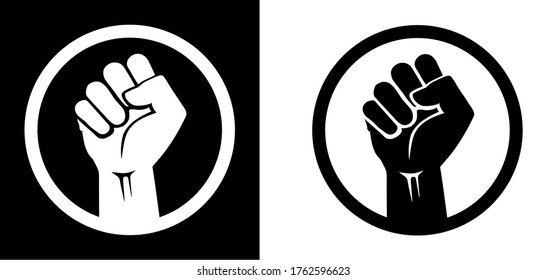 Black raised fist protest symbol icons. Clenched fist with circle isolated on black and white backgrounds. Justice, solidarity, anti-racism and strength gesture icon set.
