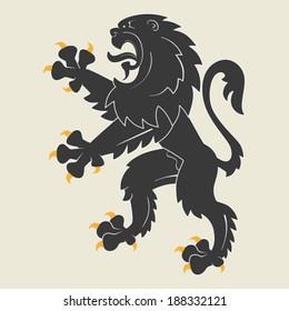 Black rampant heraldic lion. Vector illustration