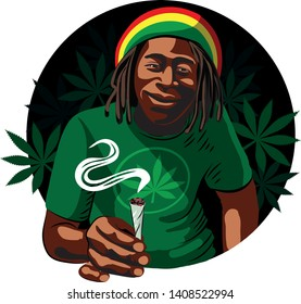 Black rastaman guy smokes marijuana. Cannabis leaves. Marijuana. Vector isolated.