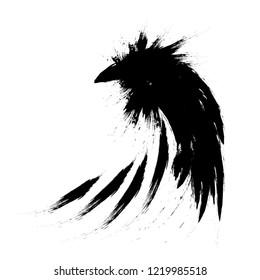 Black raven crow.  Hand drawn illustration.