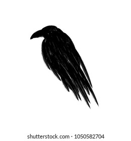 Black raven crow silhouette isolated on a white background.