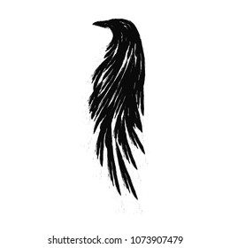 Black raven hand drawn illustration isolated on a white background.