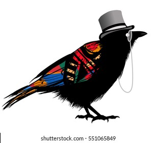 Black raven with hat - vector illustration