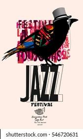 Black raven jazz poster - vector illustration