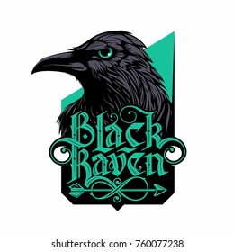 black raven logo with hand drawn lettering in gothic style