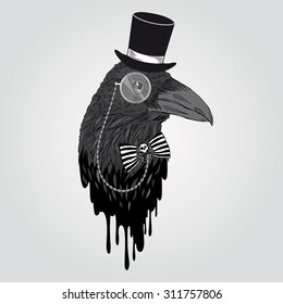 black raven portrait in tall hat and monocle, hand drawn graphic