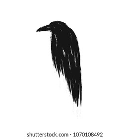 Black raven silhouette isolated on a white background. Vector crow illustration.
