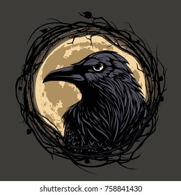 Black raven in twig frame on moon background