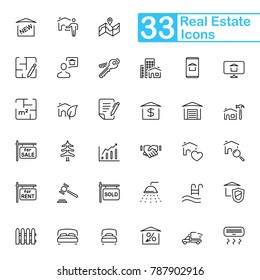 Black real estate line icons