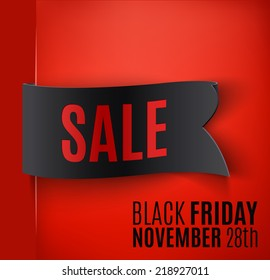 Black realistic curved paper banner. Ribbon. Black friday  sale. Vector illustration