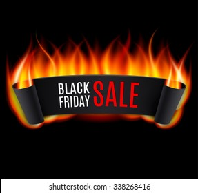 Black realistic curved paper banner. Ribbon. Black Friday sale with fire.  Vector illustration