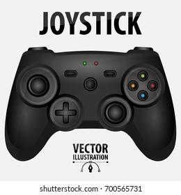 Black realistic game joystick isolated on white background. Joystick game console vector illustration