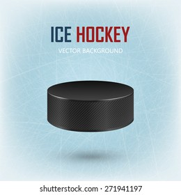 Black realistic hockey puck on ice rink - vector EPS10 background.