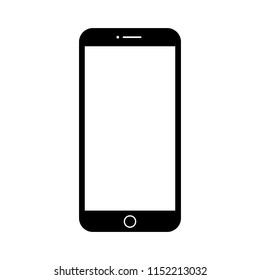 Black realistic mobile smartphone with blank screen, isolated on white background
