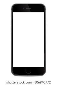 Black realistic mobile smartphone with blank screen, isolated on white background - vector illustration eps 10
