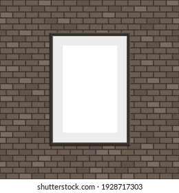 Black realistic picture frame on brown brick wall seamless pattern vector background. Modern photo frame and text to your design projects. Layered vector EPS 10.