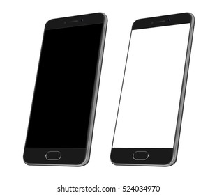 Black Realistic smart phone mock up. 3d Perspective view of high detailed smartphone. Vector mockup. Cell phone with blank screen isolated