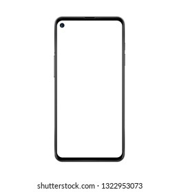 Black realistic and trendy no frame smartphone with blank white screen and separated camera isolated on white background.