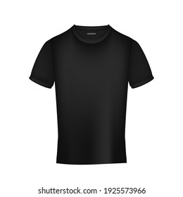 Black realistic t-shirt front view. Isolated. Vector illustration.