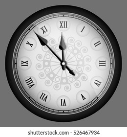 Black realistic vintage clock isolated. Vector illustration