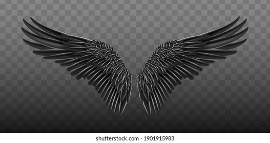 Black realistic wings. Vector illustration bird wings design. Black isolated pair of falcon wings, 3D bird wings design template.