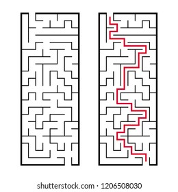 Black rectangular labyrinth with an input and an exit. An interesting and useful game for children. Simple flat vector illustration isolated on white background. With the answer.