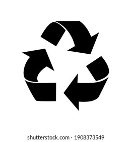 black recycle icon. Recycle label separately on white background