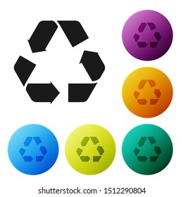 Black Recycle symbol icon isolated on white background. Circular arrow icon. Environment recyclable go green. Set icons colorful circle buttons. Vector Illustration