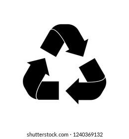 Black Recycle symbol icon vector eps 10