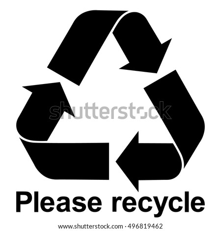 Black Recycle Symbol Text Please Recycle Stockvector Rechtenvrij