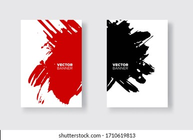Black and red abstract design set. Ink paint on brochure, Element isolated on white. Grunge banner paints. Simple composition. Liquid ink. Background for banner, card, poster, identity,web design.