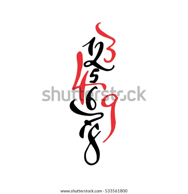 Black and red arabic style hand drawn high quality calligraphy poster with numbers. Isolated on white background