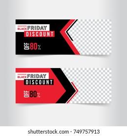 Black and red banner design. Black Friday sale poster. Sale voucher. Gift card. Facebook banner. Vector Illustration