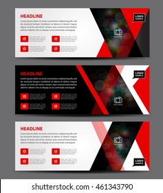 Black and red Banner Template vector, horizontal, advertising display layout, flyer design