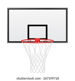 Black and red basketball backboard isolated on white background. Vector EPS10 illustration.