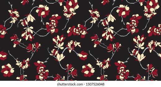 Papel de pared de color negro, rojo y beige, sin soldadura - Fondo floral nórdico de magnolia - Vector