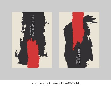 Black and red brush stroke on white background. Vector illustration. Grunge stain