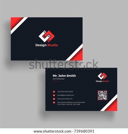 Black Red Business Card Both Side Stock Vector Royalty Free