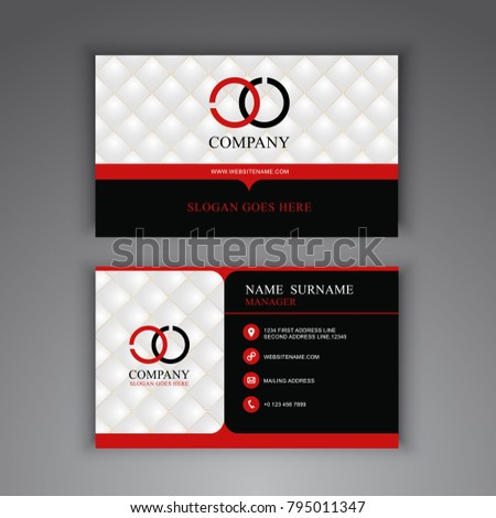 Black Red Business Card Modern Luxury Stock Vector Royalty Free