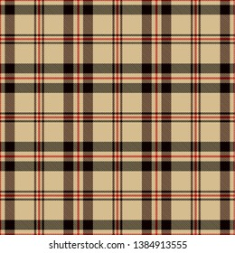 Black,  Red and  Camel Beige  Tartan  Plaid  Seamless Pattern Background. Flannel  Shirt Tartan Patterns. Trendy Tiles Vector Illustration for Wallpapers.