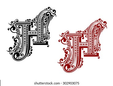 Decorative letter h images stock photos vectors shutterstock black and red capital letter h in calligraphic floral style with decorative flourishes isolated on white altavistaventures Choice Image