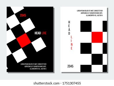 black and red chessboard abstract geometrical cover, business or corporate
