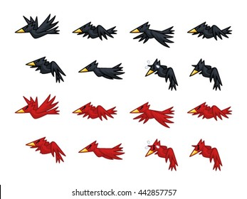 Black And Red Crows Game Sprites. Suitable for side scrolling, shooting, action, and adventure game.
