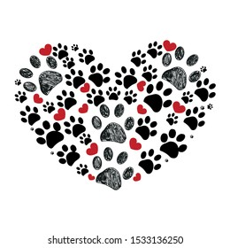Black and red dog paw print made of heart vector illustration background