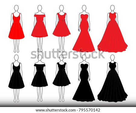02afa8a6f Black Red Dresses Icon Set On Stock Vector (Royalty Free) 795570142 ...