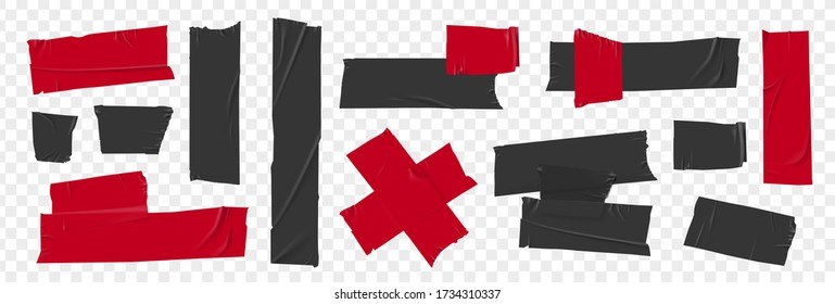 Black and red duct tape set. Torn tape. Vector realistic wrinkled stripes and cross glued sticky adhesive masking tape pieces. Isolated on transparent background
